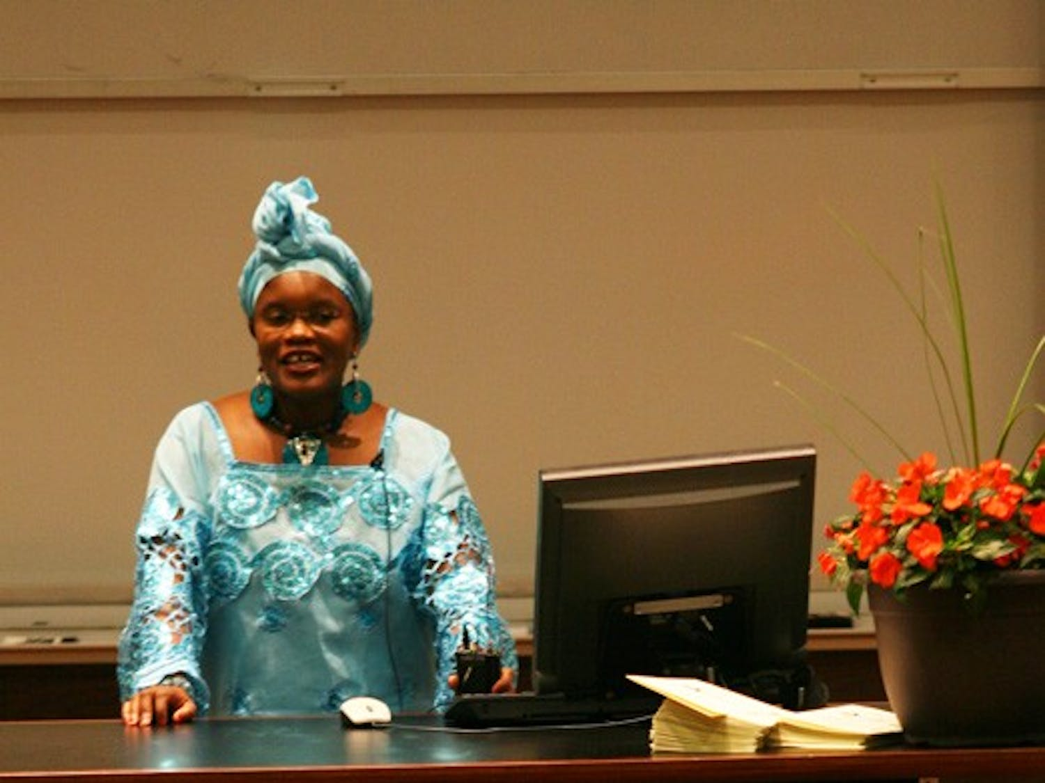 """Waithera Karim-Sesay delivers a talk in the style of a """"last lecture"""" on Sunday. DTH/ Daniel Sircar"""