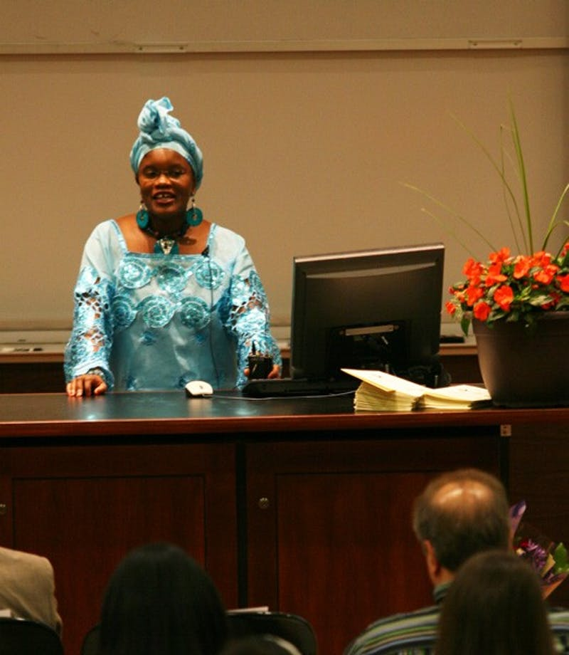 "Waithera Karim-Sesay delivers a talk in the style of a ""last lecture"" on Sunday. DTH/ Daniel Sircar"