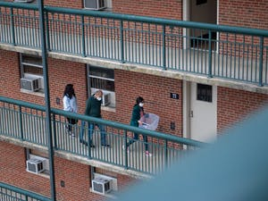 Students return to on-campus housing at Hinton James Residence Hall after a virtual fall semester and a long winter break on Saturday, Jan. 16, 2021.
