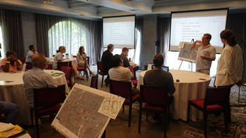 Residents share ideas for the N-S BRT bus stations at a community input session at The Franklin Hotel on Saturday, July 13. Photo courtesy of Amy Groves.