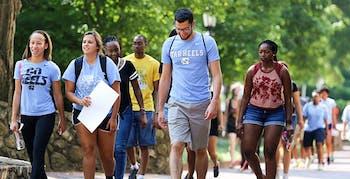 Students walk through campus during summer 2019 orientation. Summer 2020 new student orientation will happen virtually due to coronavirus. Photo courtesy of Brandi Simmons.