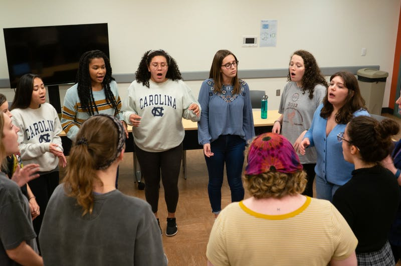 "Members of UNC's all-female-identifying a cappella group ""Cadence"" rehearse ""The Way I Do"" by Bishop Briggs in the Student Union on Wednesday, Feb. 5, 2020."