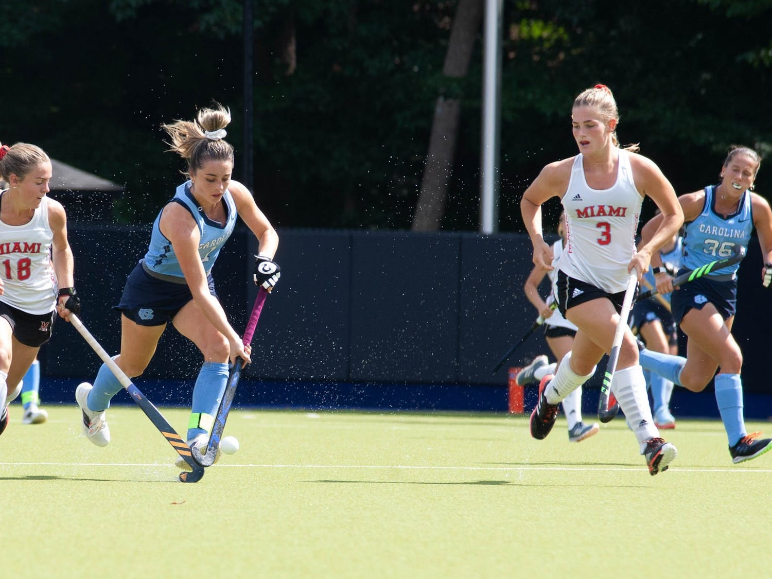 UNC senior forward Erin Matson (1) dribbles the ball during the field hockey game against the Miami Redhawks at Karen Shelton Stadium on Sept. 19, 2021. The Tar Heels defeated the Redhawks 7-2.
