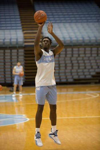 Freshman forward Nassir Little (5) shoots during practice following Media Day, Oct. 9, 2018.