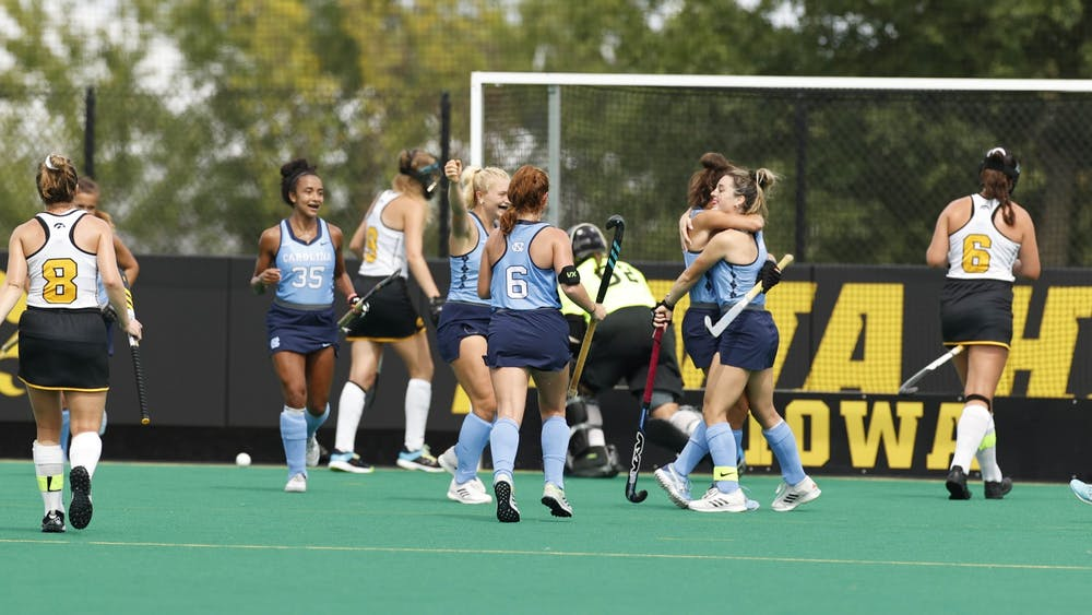 UNC field hockey players celebrate at the game vs Iowa in Iowa City on Aug. 29. The Tar Heels lost 1-3. Photo courtesy of Iowa Athletics.