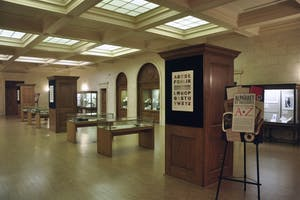 """""""An Alphabet of Treasures: Special Collections from A to Z,"""" an exhibit now on display in Wilson Library, includes a range of artifacts for students to explore."""