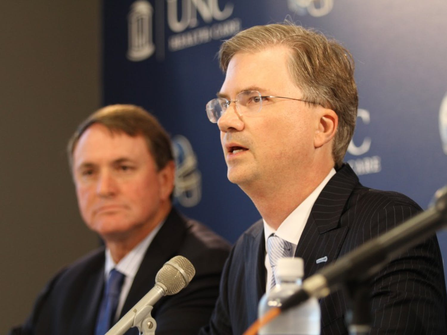 Butch Davis, Holden Thorp, Dick Baddour, and Steve Kirschner give a press conference on possible academic misconduct involving the football team.