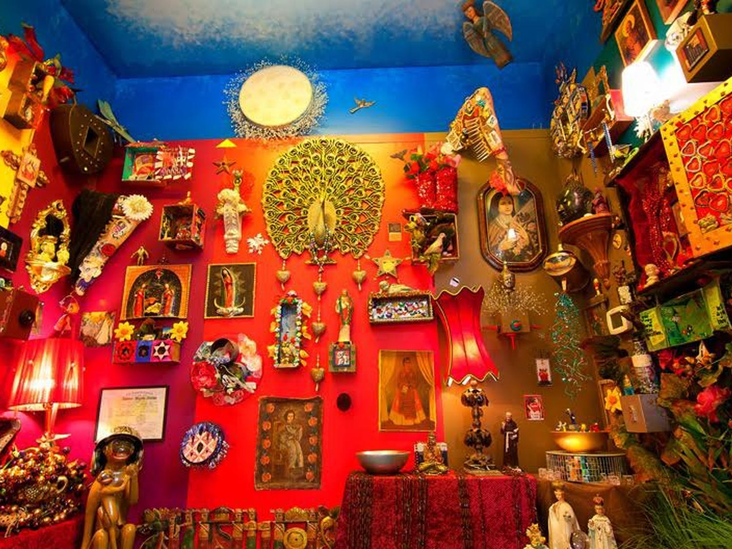 Objects hang on the walls of The Shrine Room at Cameron's in Carrboro. Photos courtesy of Bridget Pemberton-Smith.