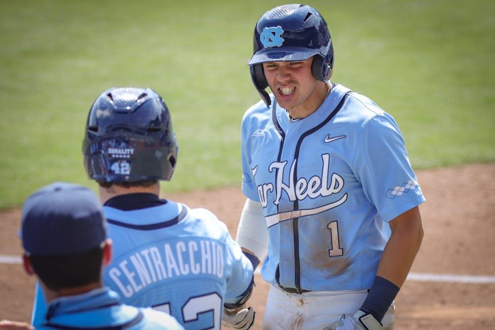 UNC sophomore shortstop Danny Serretti (1) celebrates his home run during the Tar Heels' 11-5 win against Duke on Sunday, April 11, 2021 in Boshamer Stadium.
