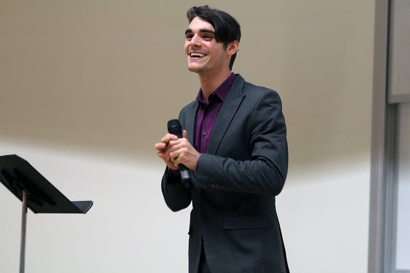 Actor RJ Mitte spoke about living with cerebral palsy in the Genome Sciences Building on Thursday.