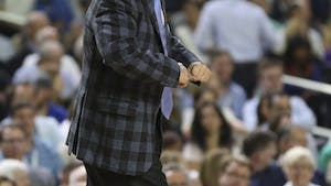 North Carolina men's basketball coach Roy Williams shouts out defensive instructions to the team during the national championship game.