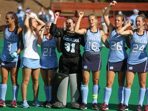 Shannon Johnson (31) will be the new goalie for the remaining games in the NCAA field hockey tournament.