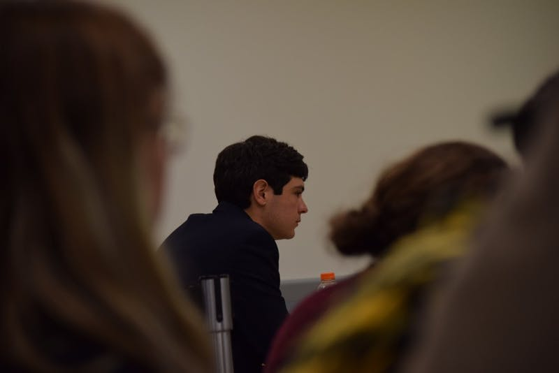 The UNC Graduate Student Attorney Phil Pullen, at Maya Little's honor court hearing at the Student Union on Thursday, Oct. 25, 2018. He charged Maya with violating the honor code by stealing, destroying, or misusing property.