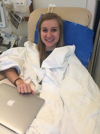 Emma Caponigro donates platelets for the competition. Photo courtesy of Emma Caponigro.
