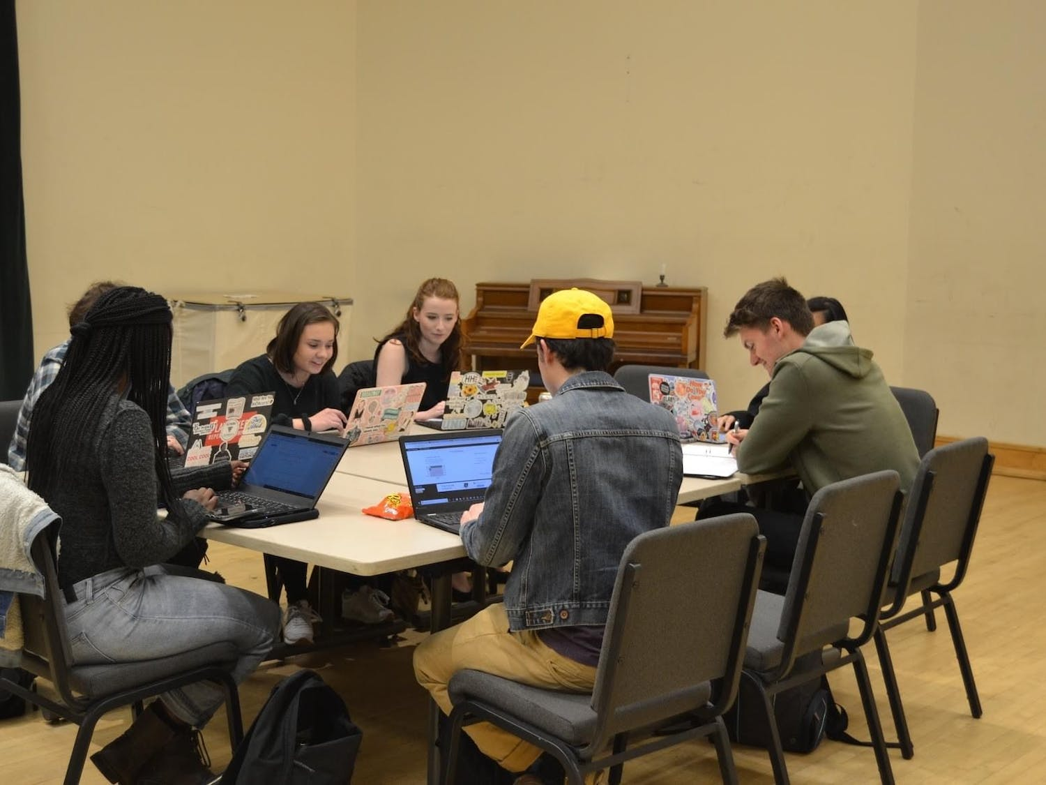 Cast members read the finalized script from LAB! Theatre's commission project last year. The play went through multiple table reads of the original student-written piece to develop the final script. Photo courtesy of Matthew Ferris.