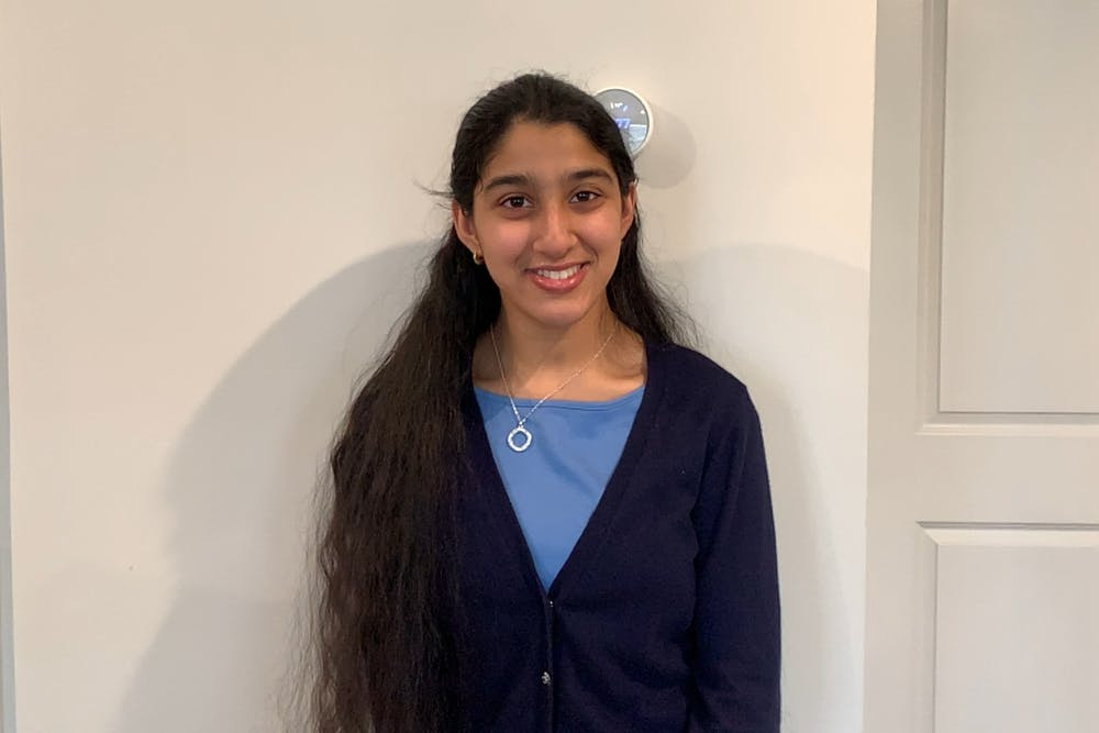 Amrutha Nandam, a sophomore public policy major and founder of Special Needs Special People, poses for a virtual portrait on Mar. 24, 2021.
