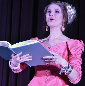 Annie Keller, as Effy, performs on Thursday evening in the upcoming production of the Hunger Games by Pauper's Broadway Melodies.