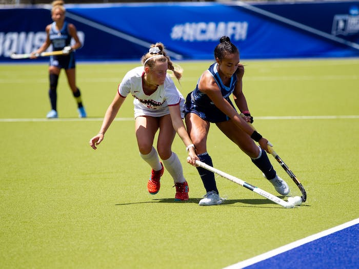 Freshman midfielder Kiersten Thomassey handles the ball with ease against Stanford. No. 1 seed Carolina FIeld Hockey defeated the Cardinals in a 2-0 victory, advancing them to the next round of the NCAA D1 Field Hockey Championships.