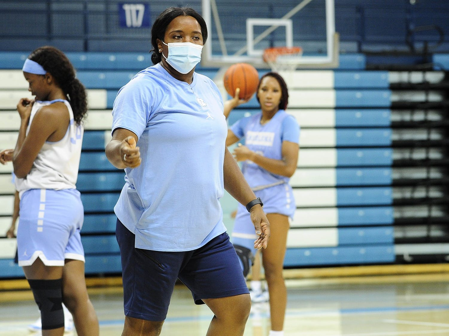 UNC women's basketball coach Joanne Aluka-White coaches at a preseason practice in Carmichael Arena, September 16, 2020. Photo courtesy of Dana Gentry/UNC Athletic Communications.