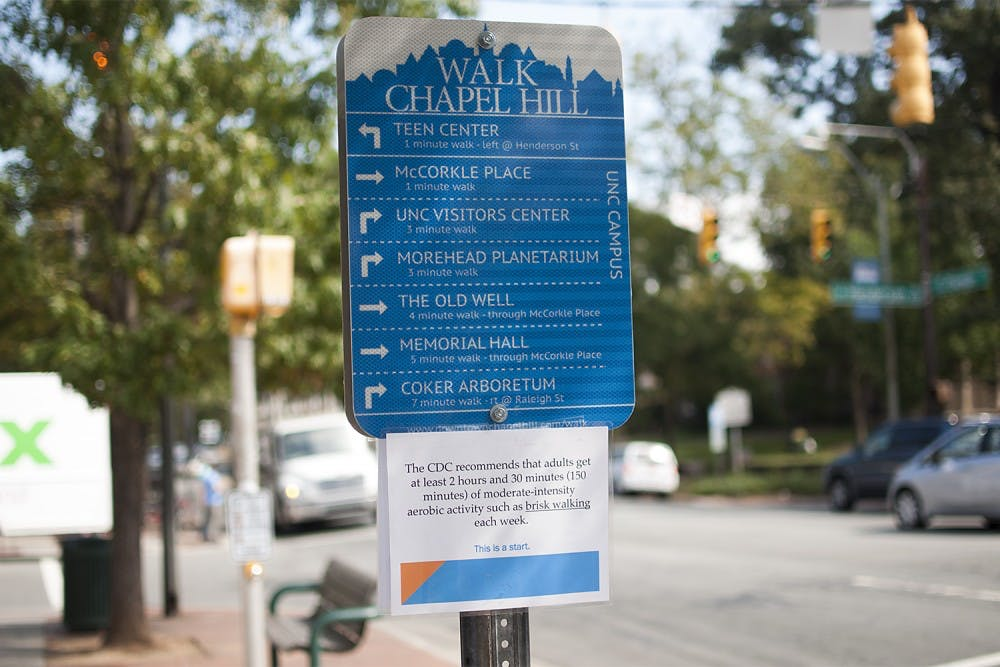 Signs make walking Chapel Hill easier