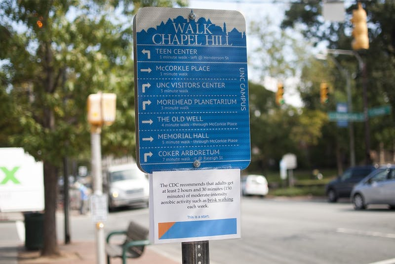 Walk Chapel Hill sign in front of the Courthouse gives directions to pedestrians to different downtown and campus destinations.