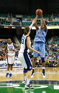 Jessica Breland takes a shot in the waning minutes of the ACC title game. She had 27 points in the game.