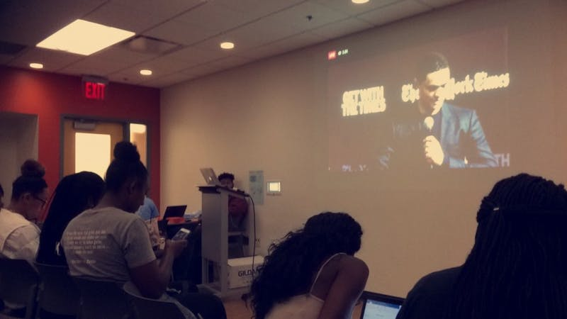 Trevor Noah's conversation with The New York Times journalist John Eligon was livestreamed in the Student Union.