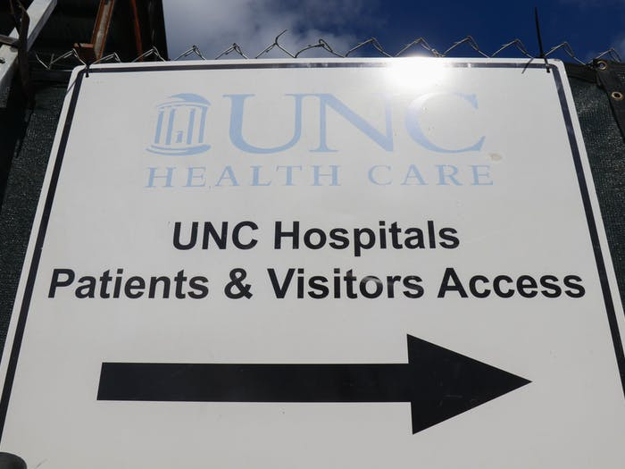 The UNC Hospitals entrance sign is pictured on Oct. 13.
