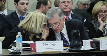 Thomas Ross, the president of the University, Hannah Gage, Chairman of the Board, as well as the Board of Governors and the Budget and Finance Committee attend a meeting about tuition at the Board of Governors meeting at the Spangler Center (General Administration Building) on Thursday, February 9. The Budget and Finance Committee voted in favor of Ross' tuition plan.