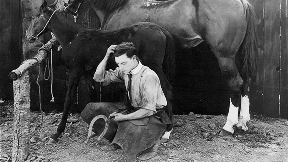 <p>Still from Buster Keaton's silent film The Blacksmith. Photo courtesy of Tim Carless.</p>