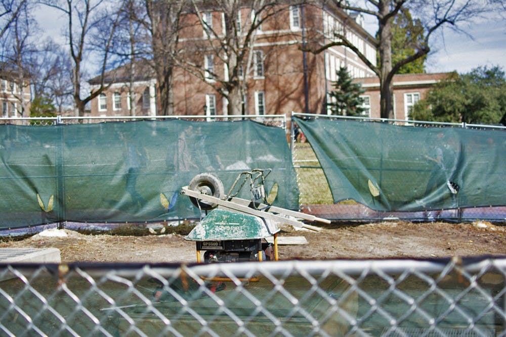 <p>Construction equipment has cluttered the quad since August.  The recent snowstorms have postponed the project that is now expected to finish in April.</p>