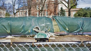 Construction equipment has cluttered the quad since August.  The recent snowstorms have postponed the project that is now expected to finish in April.
