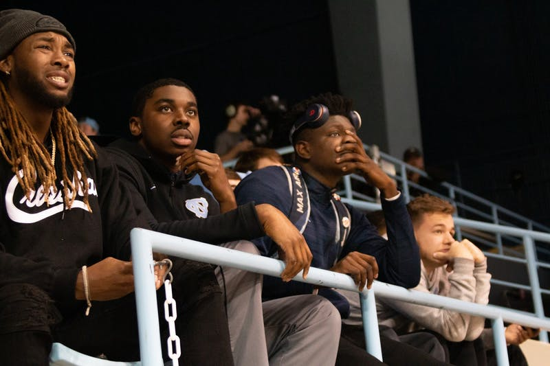 UNC fans watch in dismay in the fourth quarter of the women's basketball game against Louisville in Carmichael Arena on Sunday, Jan 19, 2020 when it became clear that Louisville would proabbly win. Though it was a close game, UNC eventually lost 67-74.
