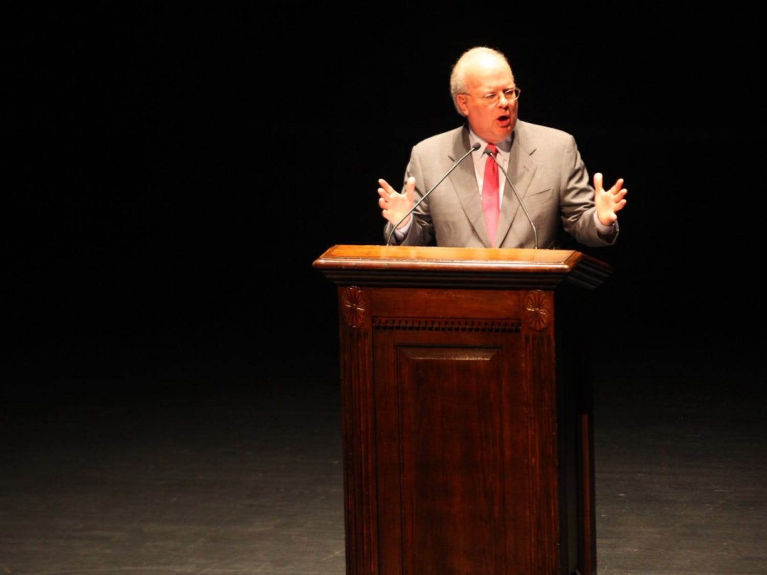 Karl Rove, adviser to former President George W. Bush, speaks at Memorial Hall Monday. The event was sponsored by UNC College Republicans.