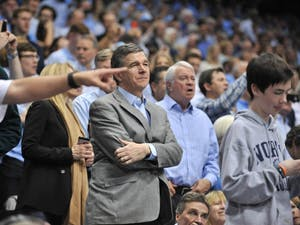 N.C. Governor Roy Cooper looks on at the UNC-Duke game.