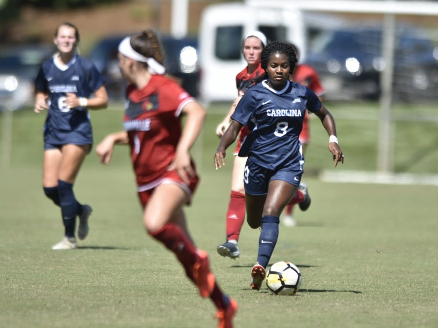 First-year midfielder Brianna Pinto dribbles the ball during UNC's 5-1 win over Louisville on Sept. 29 at WakeMed Soccer Park.