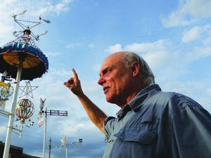 """""""When they're turning and the light hits them, they just take on a different life,"""" said Joseph Justice, artist for the whirligig restoration effort in Wilson, N.C."""