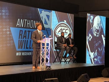 Junior wide receiver Anthony Ratliff-Williams addresses the media at ACC Kickoff in Charlotte on July 18.