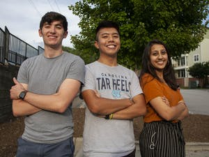 """From left to right: Senior Sage Atkins, junior Toby Turla, and junior Sonam Shah, are co-founders of Peer2Peer. """"We are offering a remote peer support system for people within the UNC community to talk about a shared experience,"""" Turla said."""