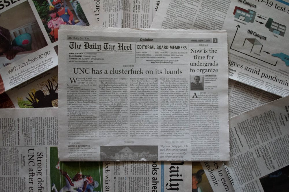 DTH Photo Illustration. After students returned to campus in August, COVID-19 cases/clusters quickly rose, attracted national attention surrounding UNC's failed reopening.