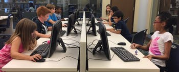 Kids Code, a startup featured at the 2019 Innovation Showcase, focuses on teaching children in low-income communities how to code. This photo was taken May 2017 during a Kids Code Saturday Workshop at the Southwest Chatham Live Oak Public Library in Savannah, Georgia, where the program originated. Contributed by Angel Patel.