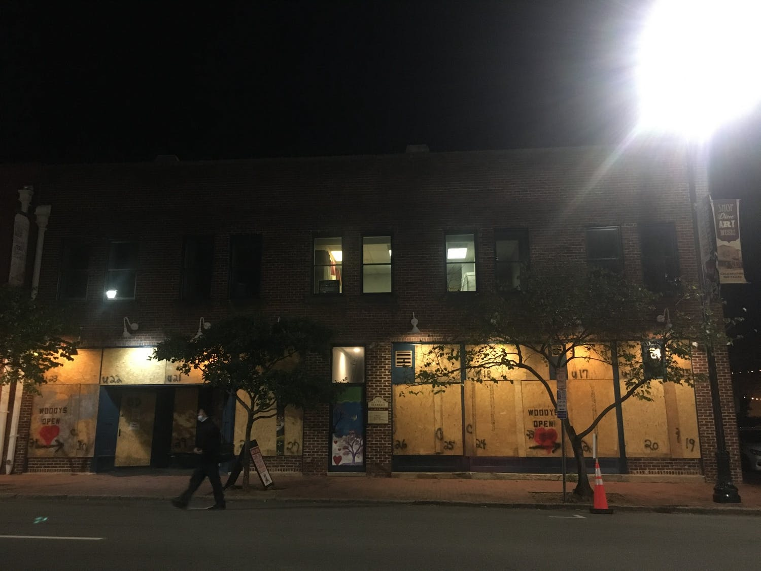 Shops in downtown Raleigh are boarded up in anticipation of protests on election night on Tuesday, Nov. 3, 2020.