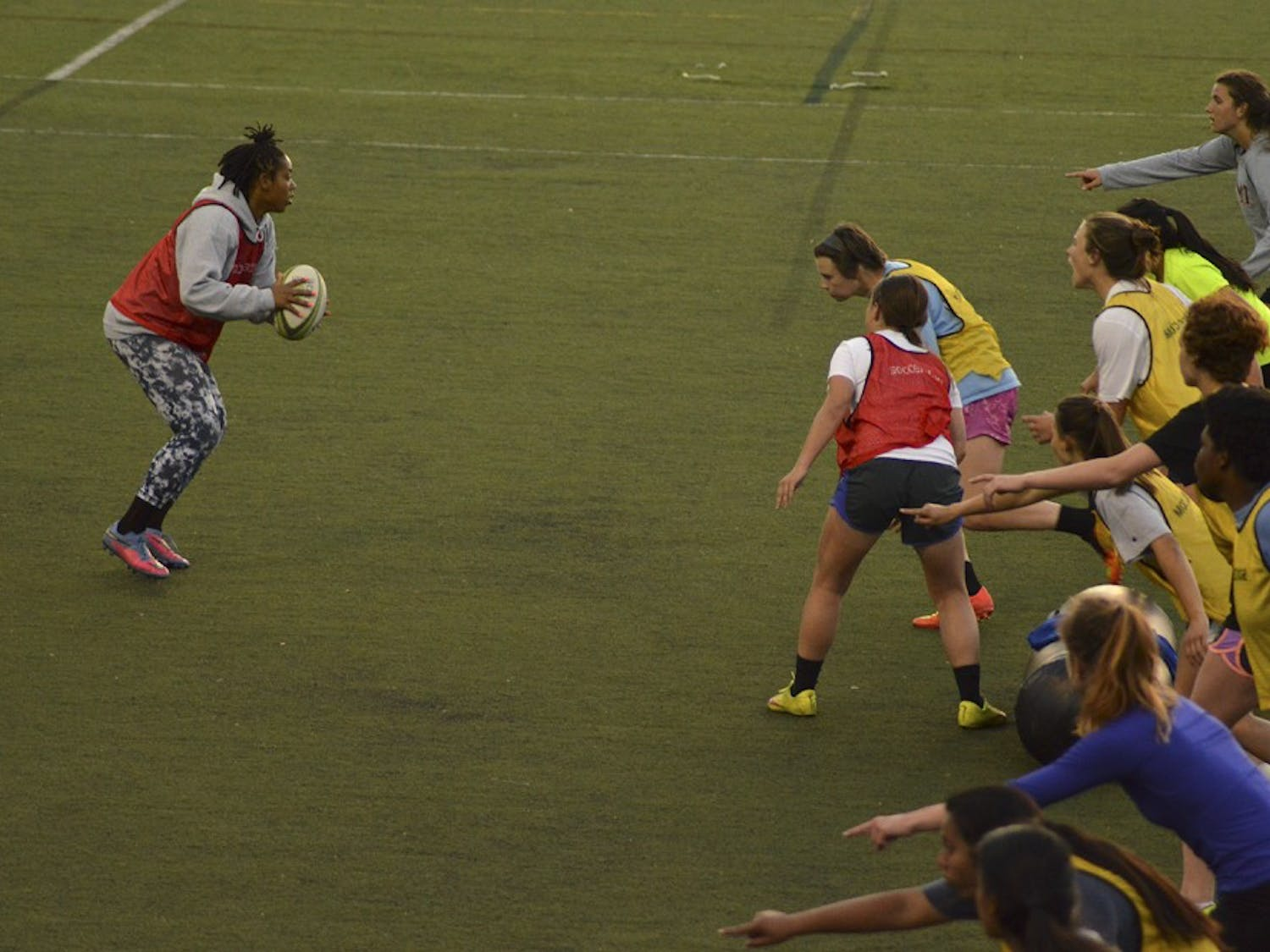 The UNC women's rugby team practices on Tuesday, April 5th on Hooker fields.