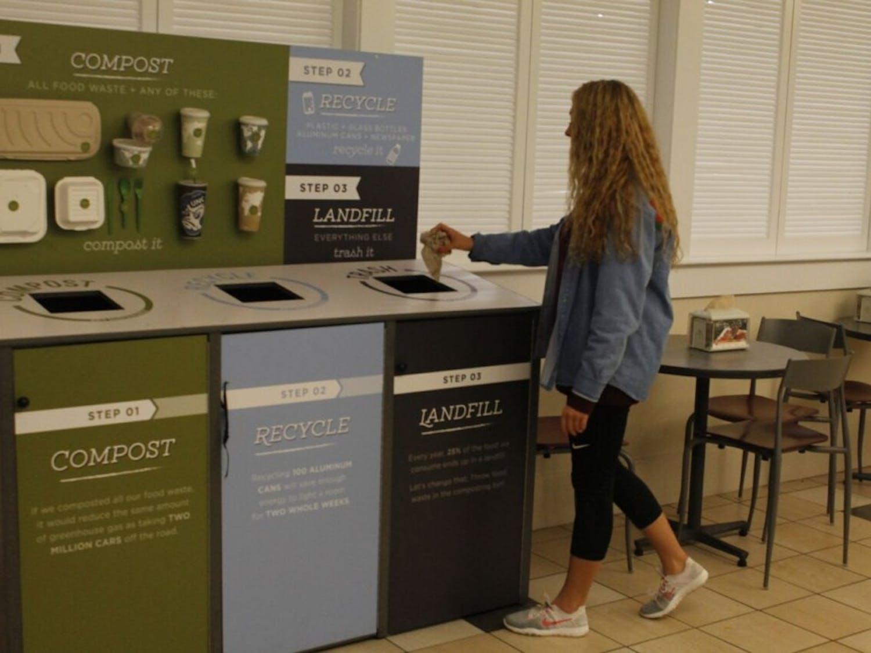 Clarissa Constantin, a senior Arabic major, throws trash in the bin marked for landfill waste at Lenoir Hall on Nov. 14, 2018.
