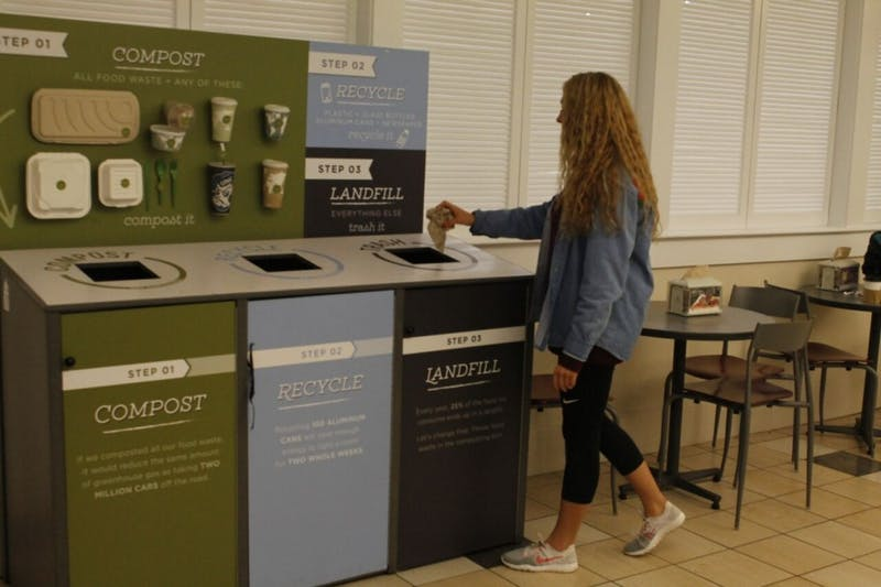 Clarissa Constantin, a senior Arabic major, throws trash in the bin marked for landfill waste at Lenoir Hall on Nov. 14, 2018.