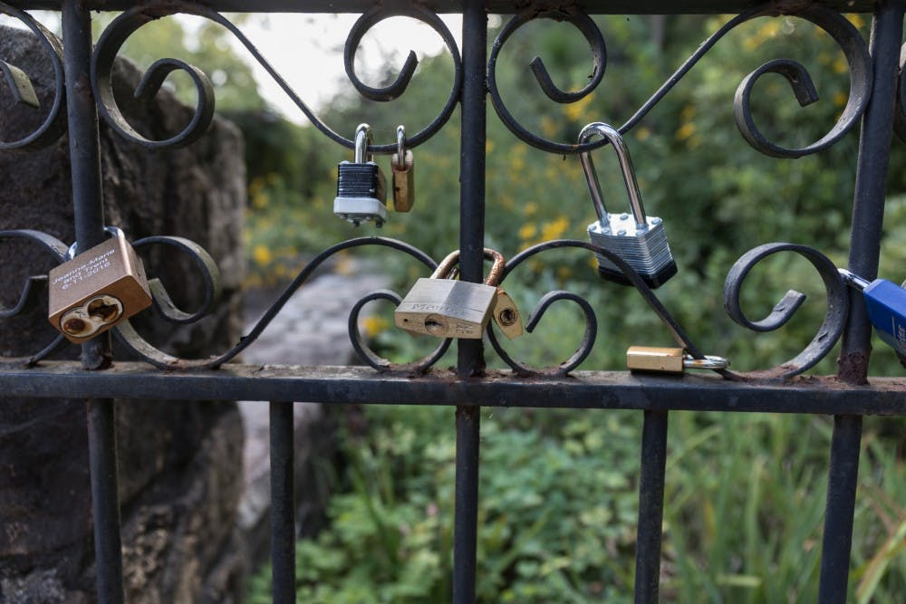 <p>Locks cover a gate at the front of the Coker Arboretum off of Raleigh Rd. and E Cameron Ave.</p>