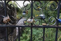 Locks cover a gate at the front of the Coker Arboretum off of Raleigh Rd. and E Cameron Ave.