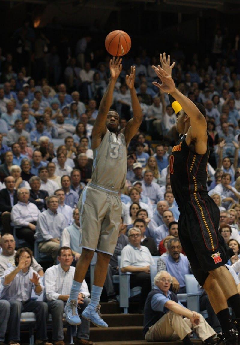 Reggie Bullock shoots a three-pointer against a Maryland defender