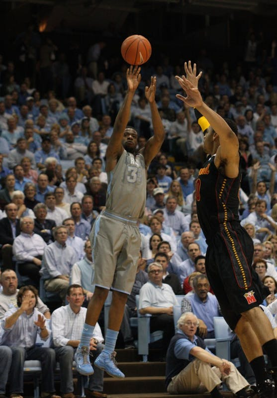 Reggie Bullock shoots a 3-pointer against a Maryland defender.