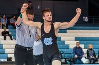 UNC's A.C. Headlee won the 141-pound bout against Pittsburgh on Jan. 26 in Carmichael Arena.